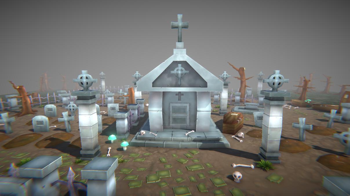 Lowpoly Graveyard Set
