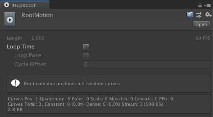 Unity 2018.3から Generate Root Motion Curves のオプションが無くなった・・・という話