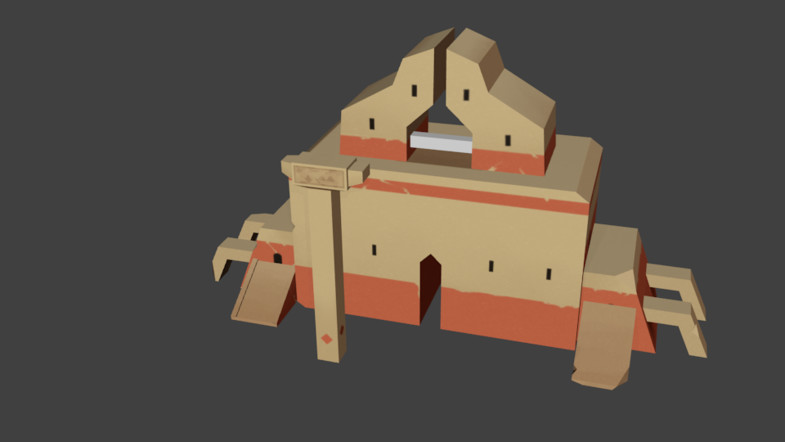 Ruined Ancient Remains and Animated Character