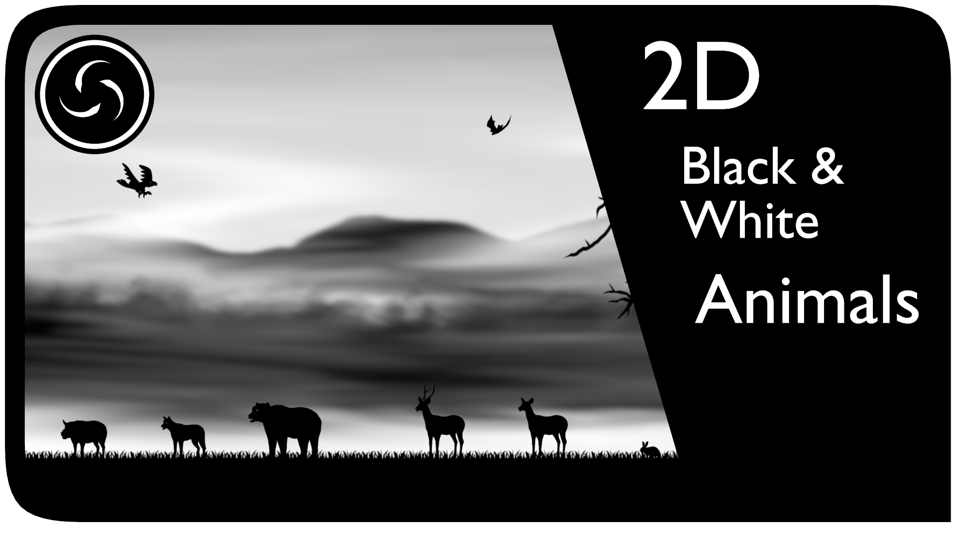 2D Black & White Animals