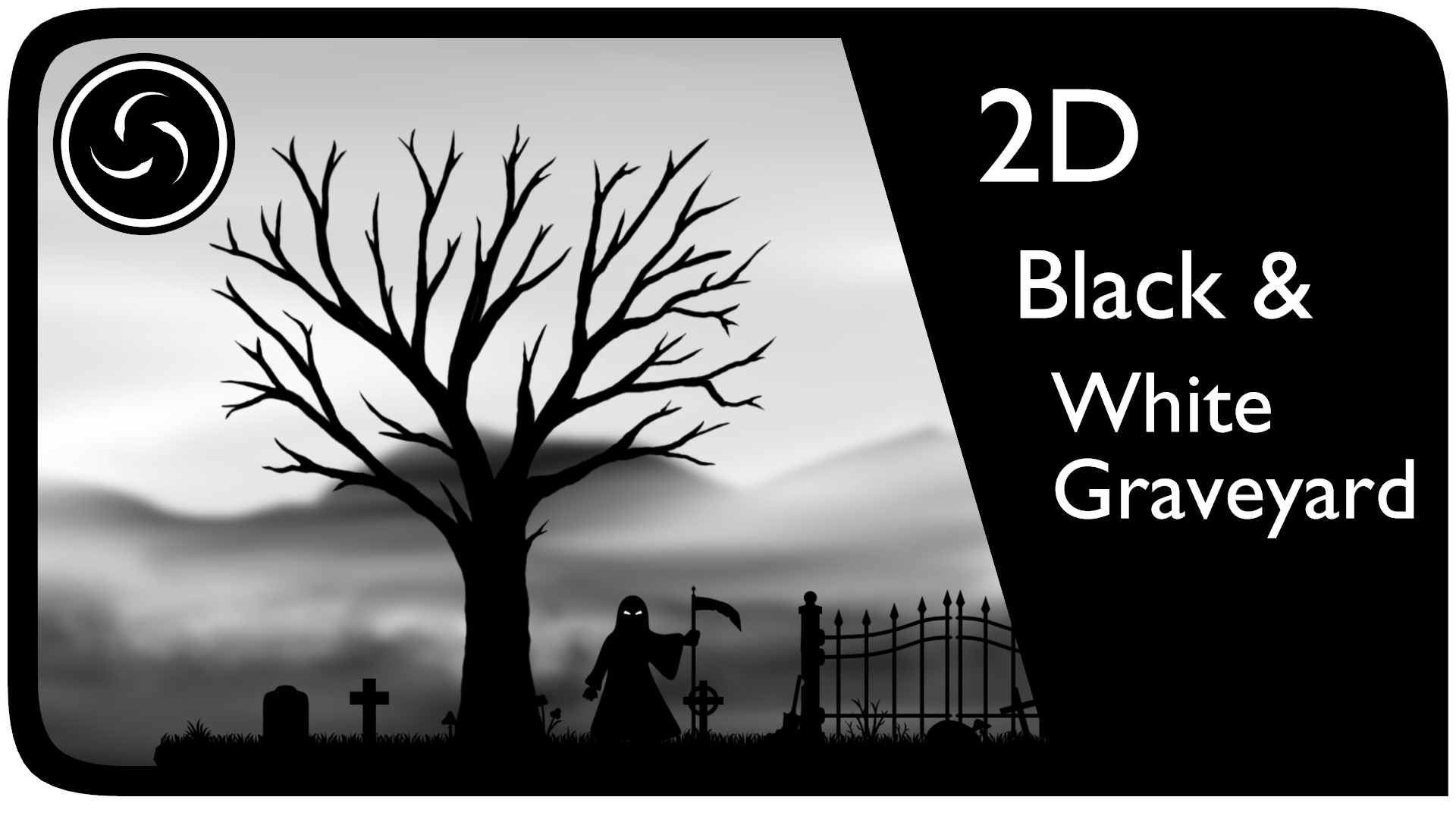 2D Black & White Graveyard