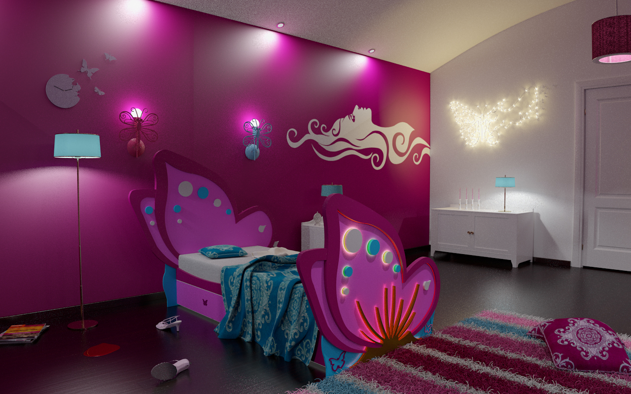 3d girl bedroo design