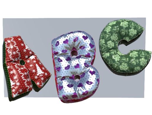 Alphabet Decor: balloons and pillows.