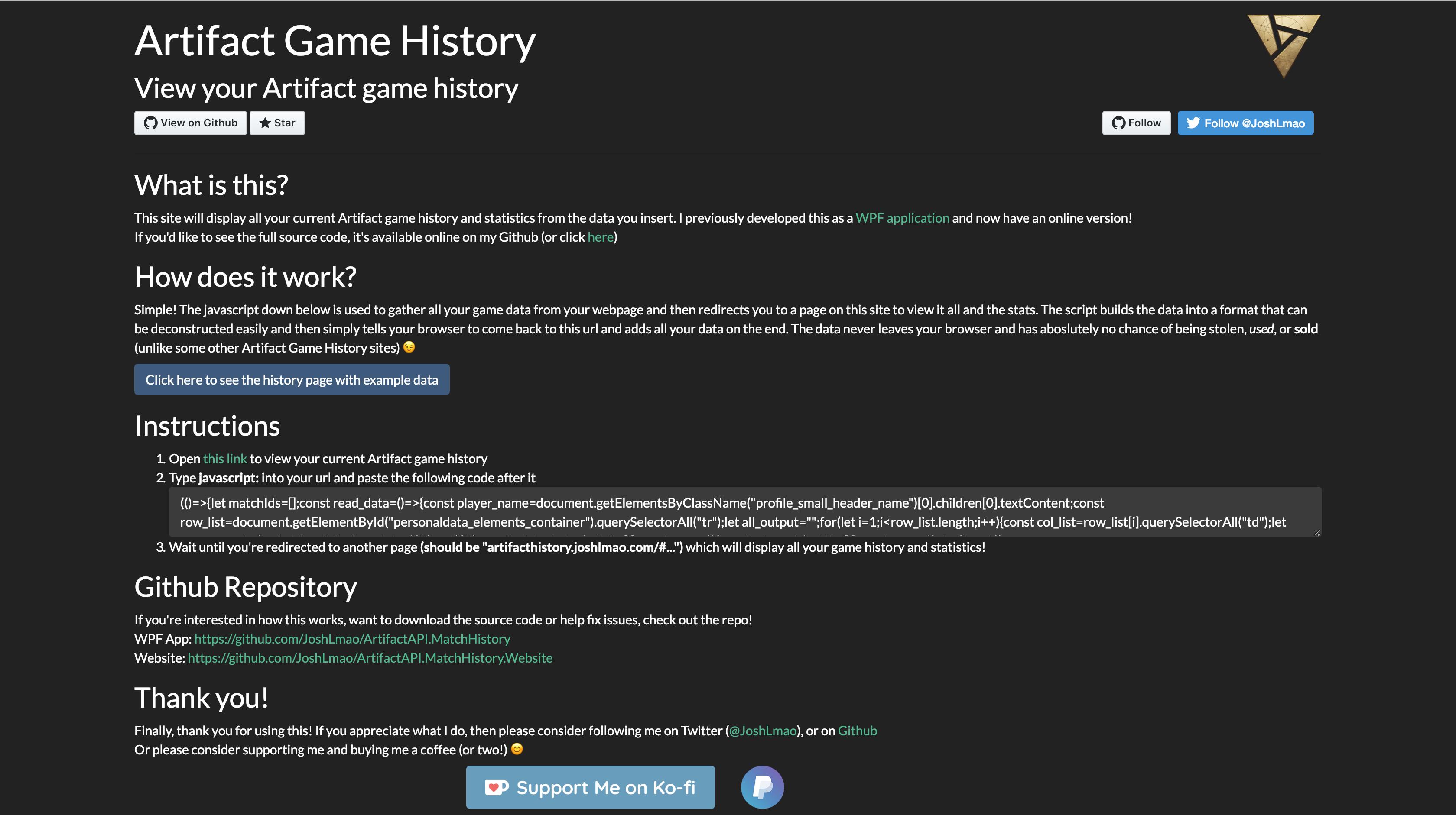 Artifact Match History Viewer