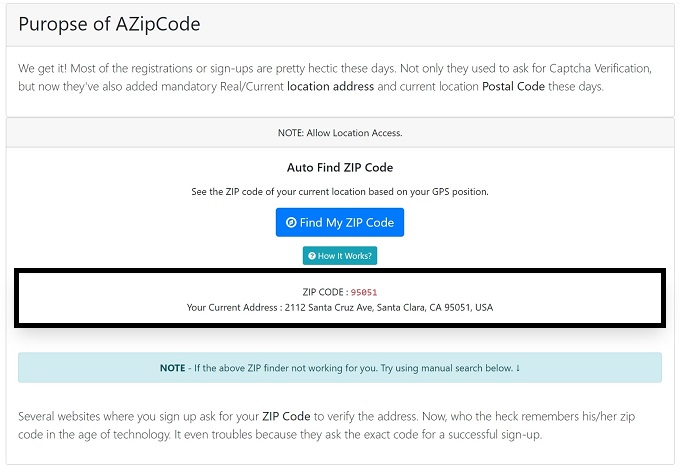 How To Get Free Postal Code Or Current Location Address?