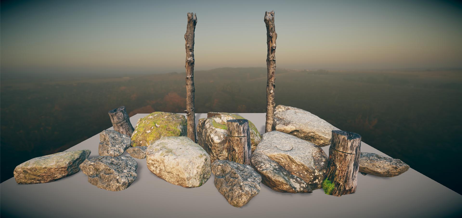 Photoscanned Rocks & Tree trunks