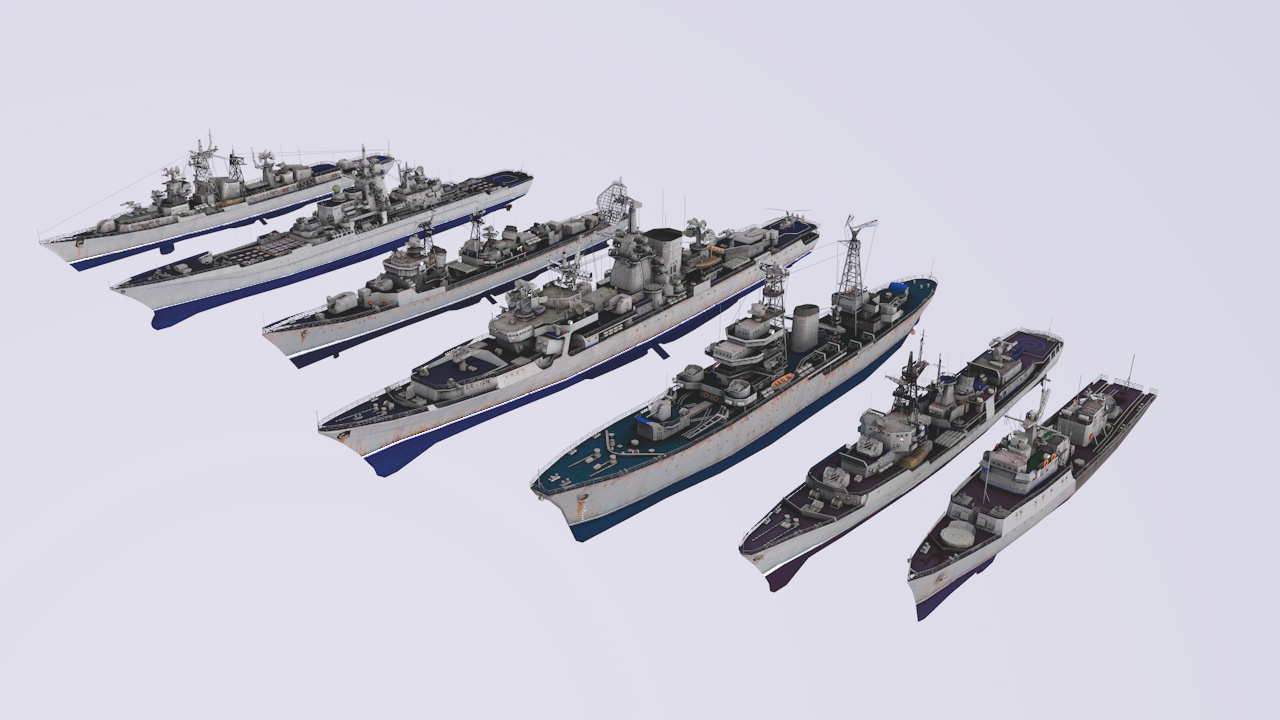 battle ships low poly for games