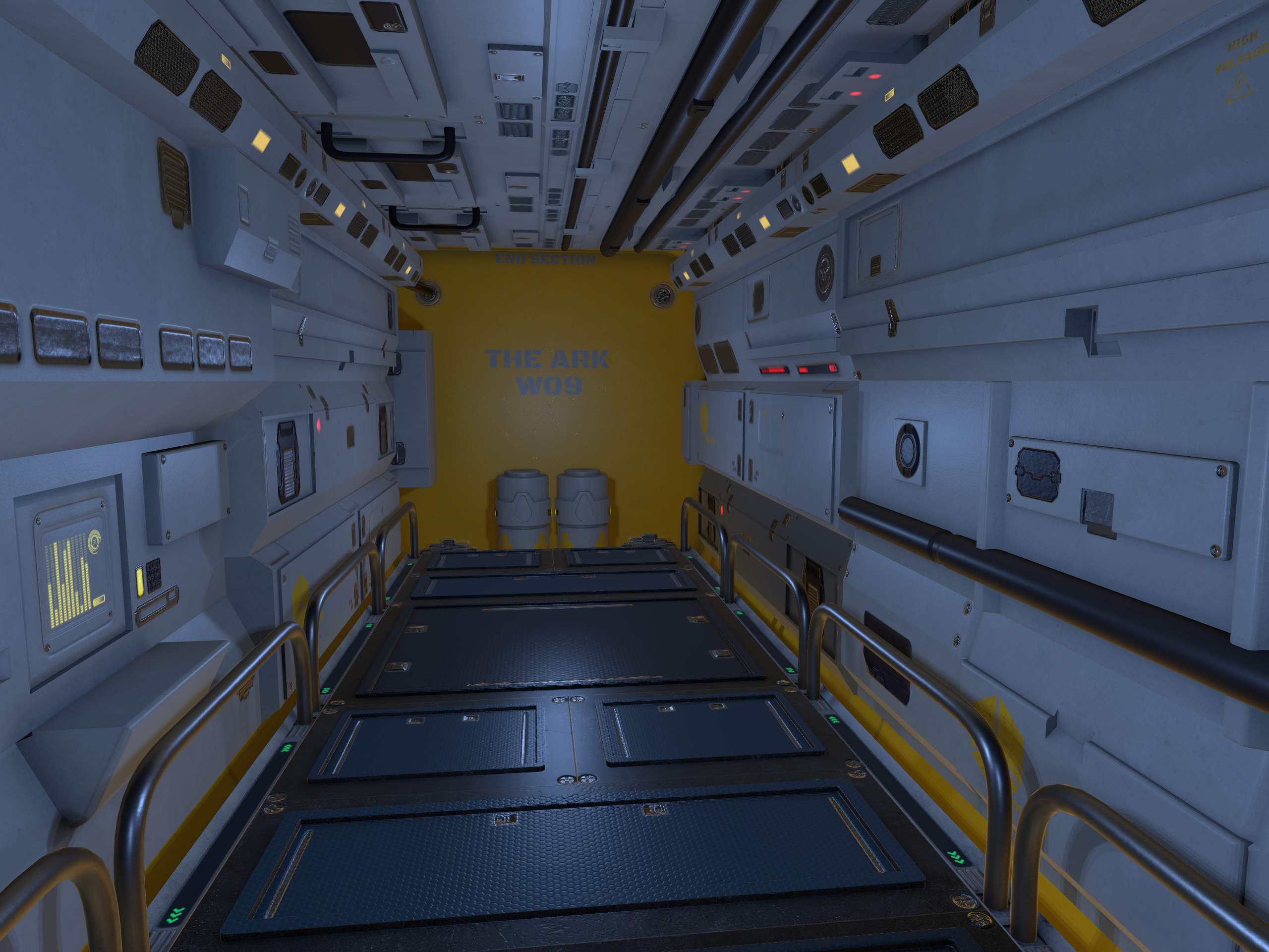 Low-poly modular Sci-Fi corridor that I made with blender for Unity