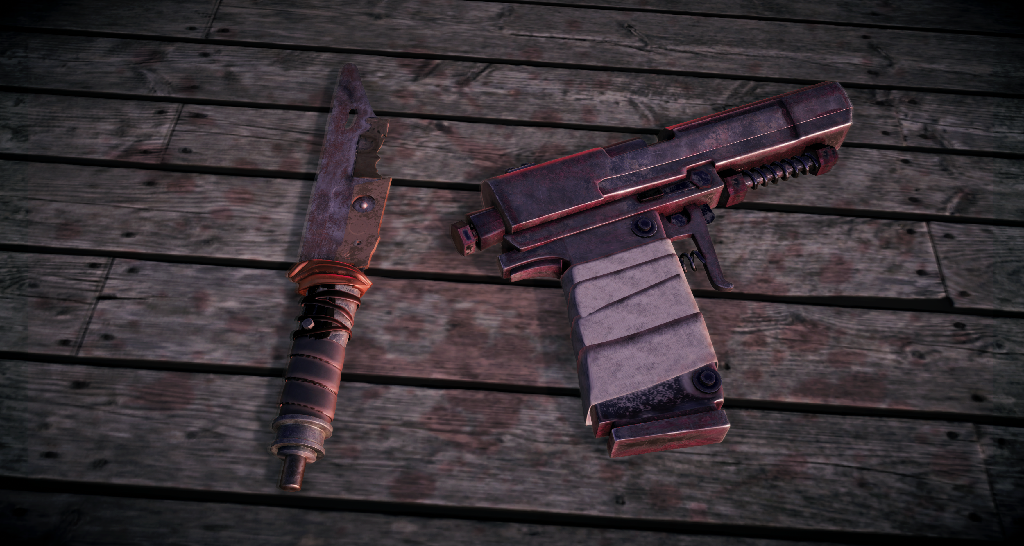 Apocalyptic knife and Gun