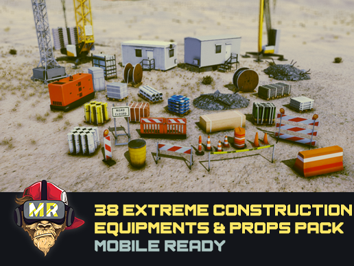 38 Construction Equipments & Props Pack Mobile Ready