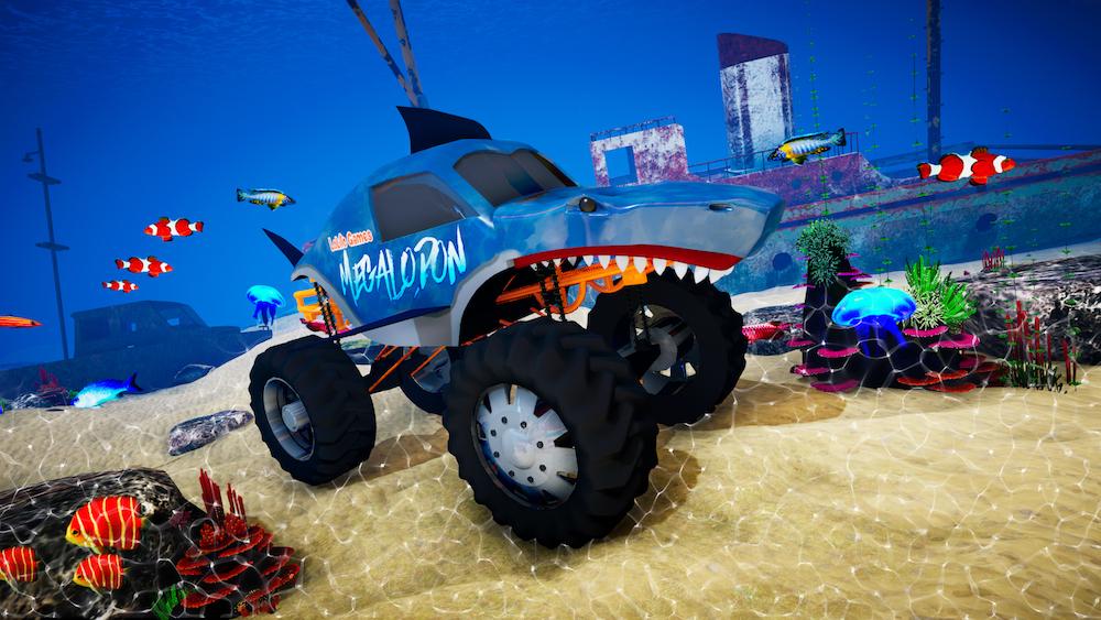 Shark Monster truck And Underwater Environment.