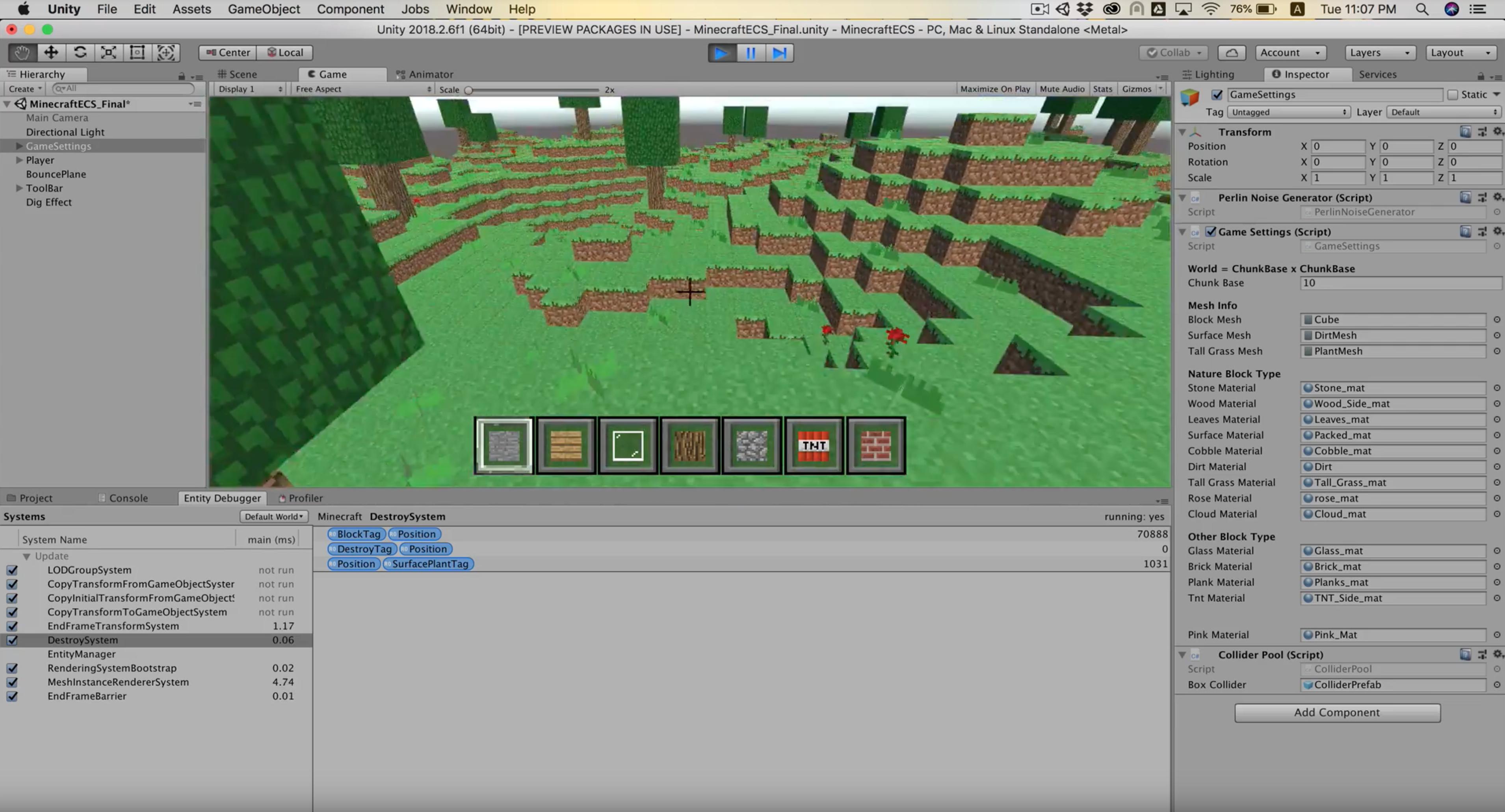 使用Entity Component System开发《快乐的Minecraft》游戏