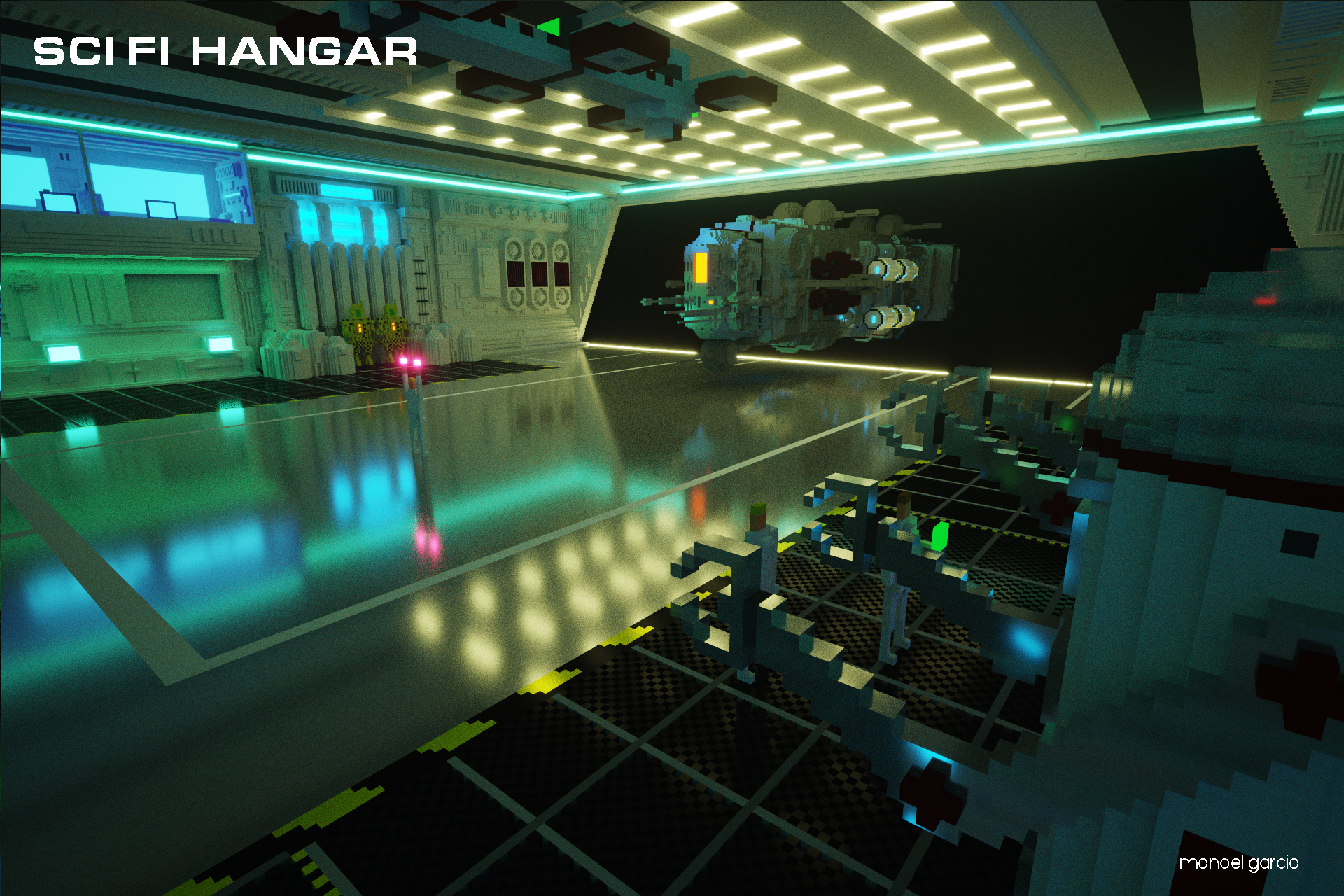 Voxel Scifi Hangar