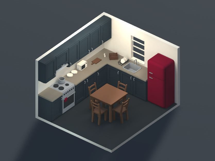 Low poly modular kitchen