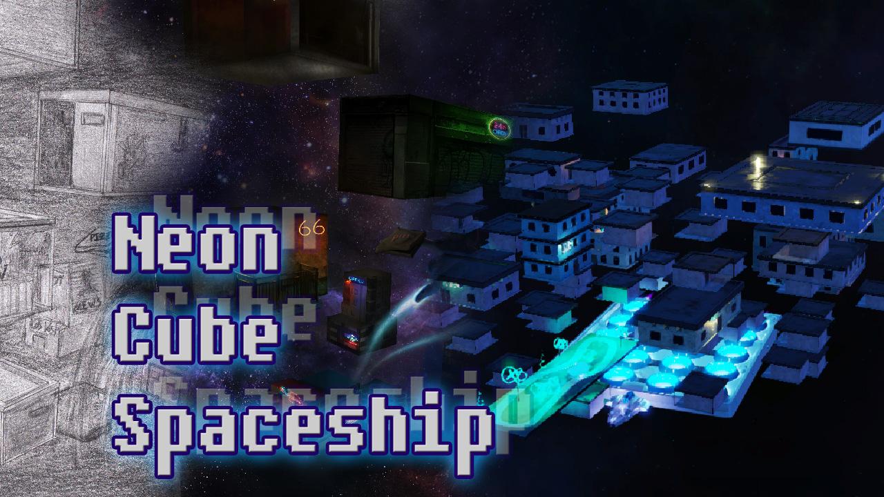 Neon Cube Spaceship
