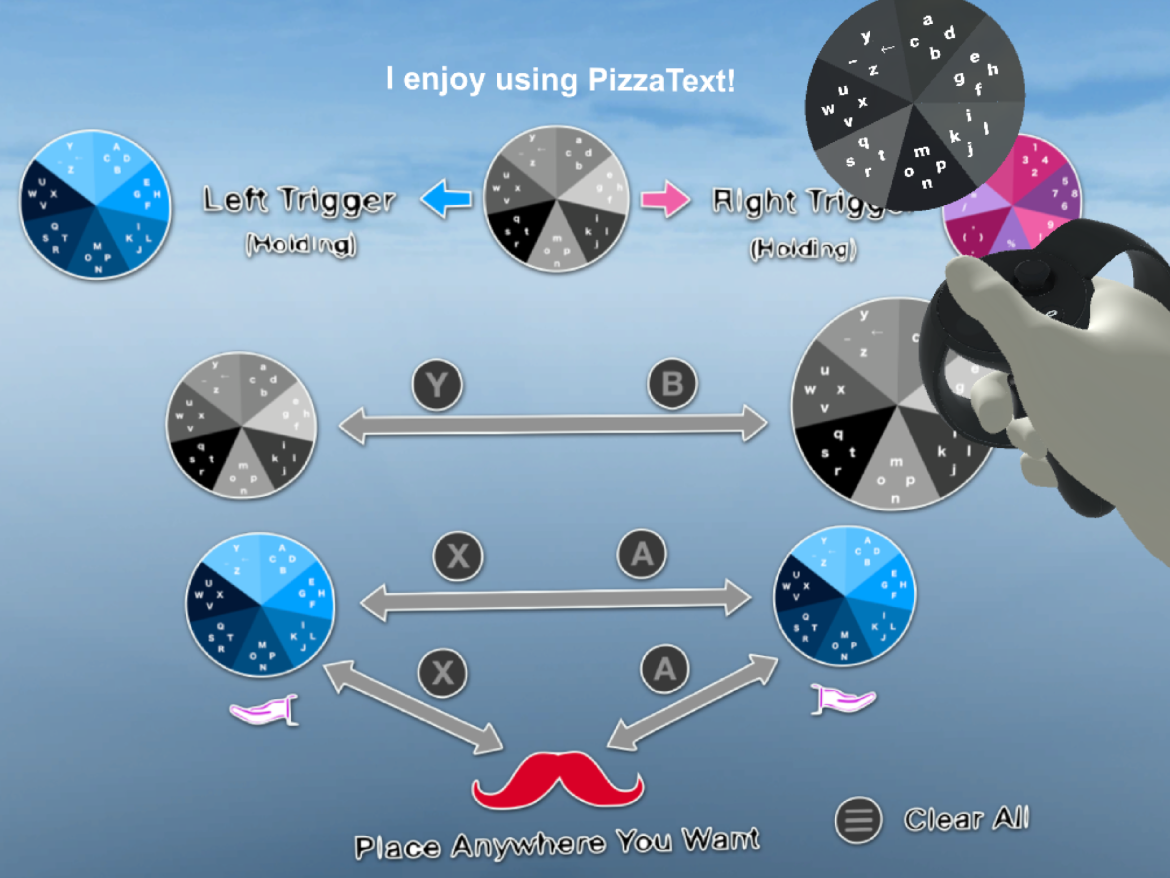 PizzaText: a text entry technique in VR using dual thumbsticks