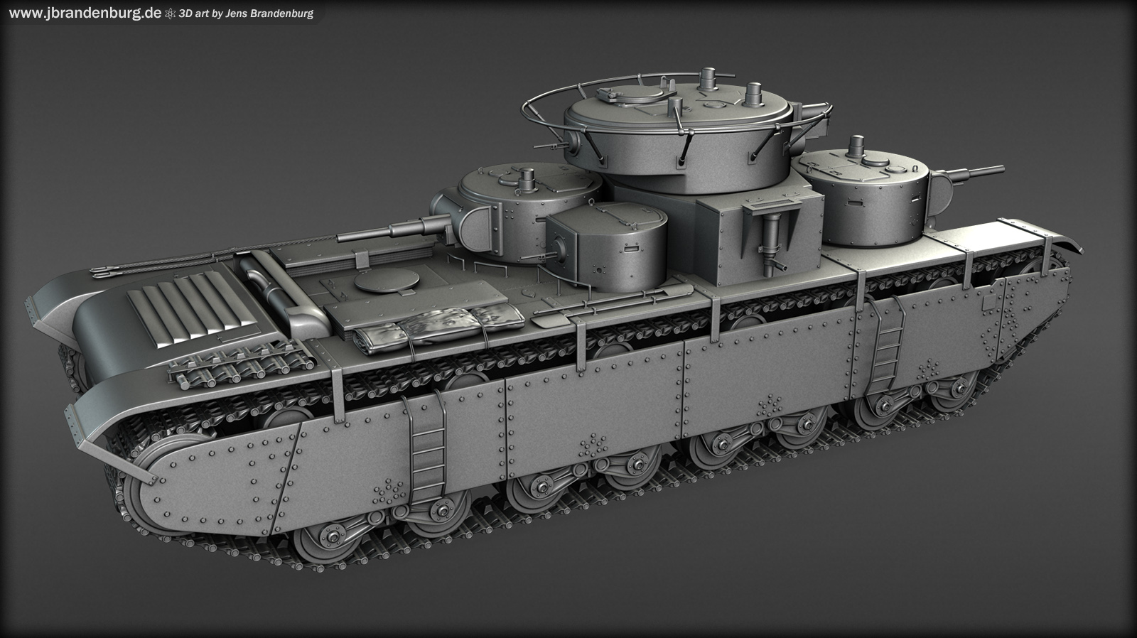 T-35 Tank (Highpoly)