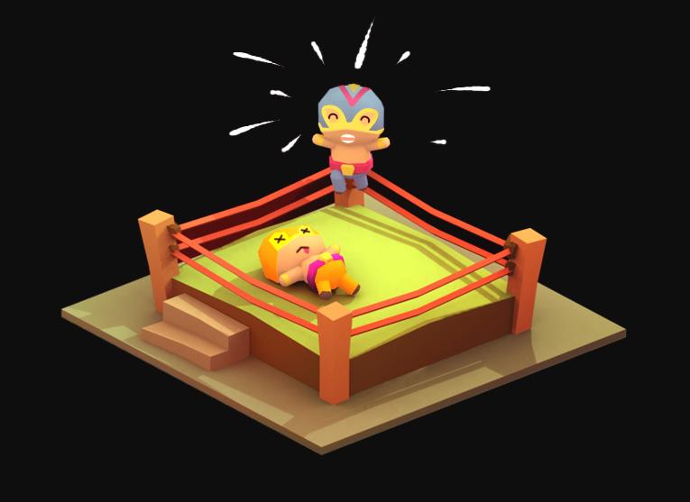 Lowpoly wrestling diorama
