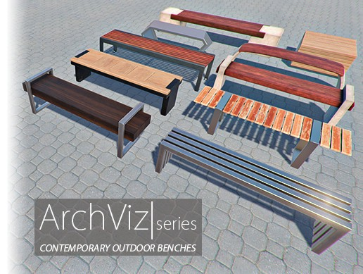 Contemporary Outdoor Benches | ArchViz Series