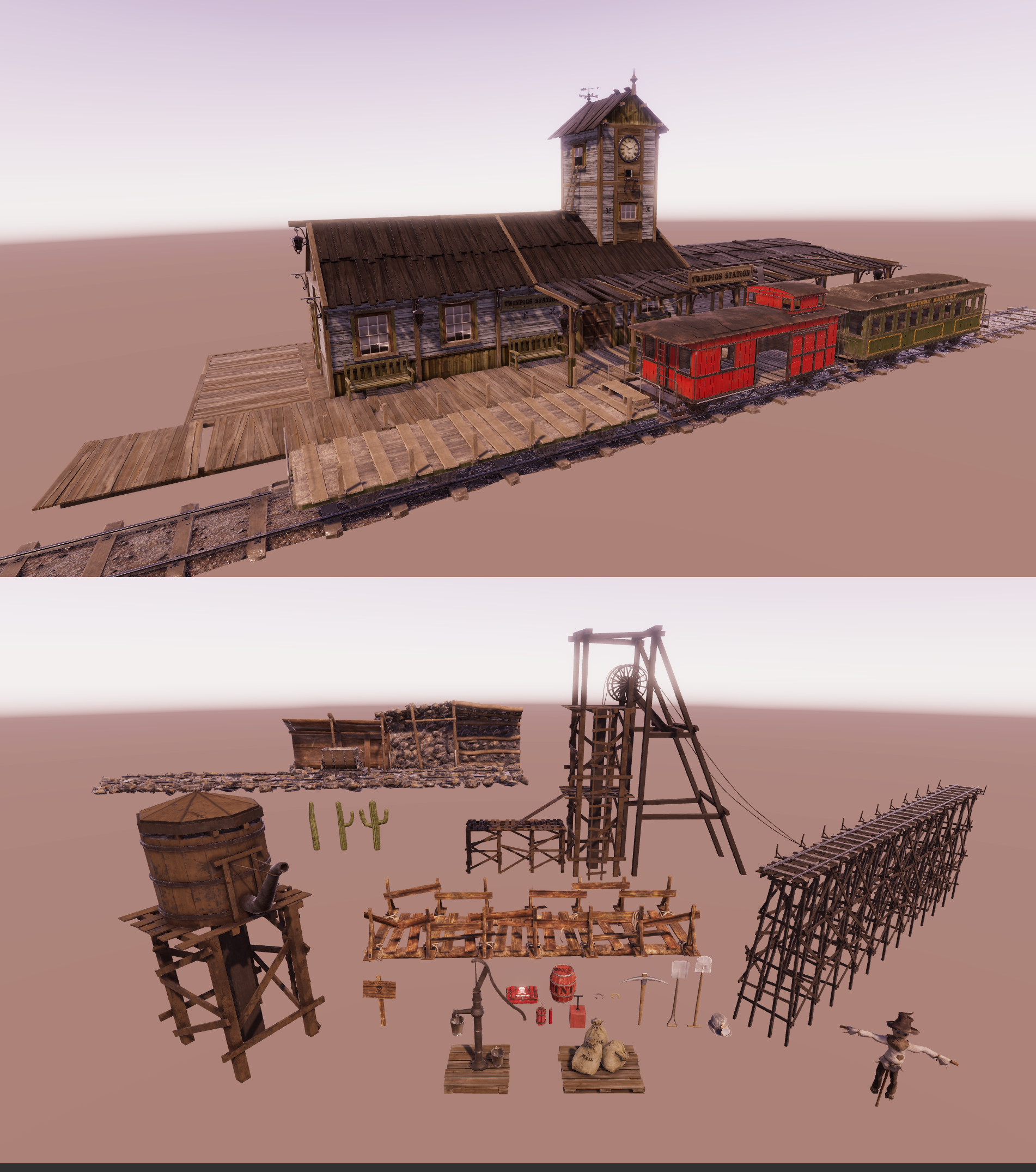 Western style game assets