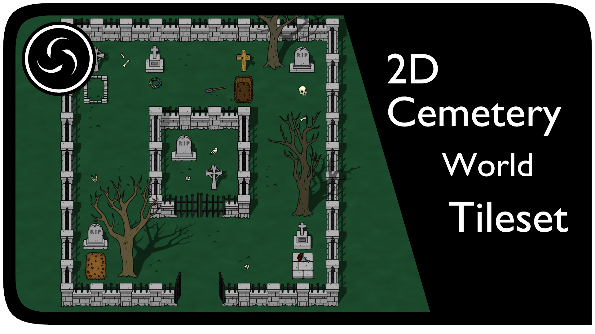 2D Cemetery World Tileset