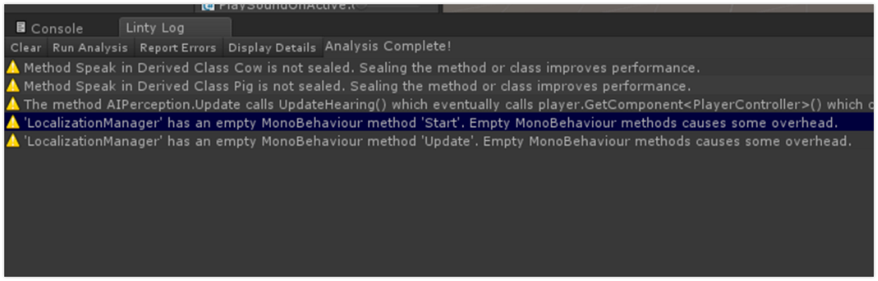 Unity Engine Analyzer