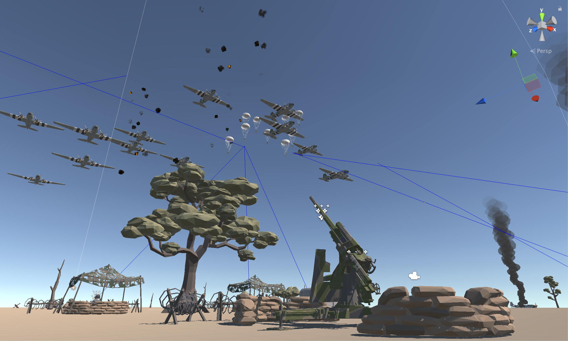 Simple intercept missile & turret behaviour  demo with Polygon War Asset