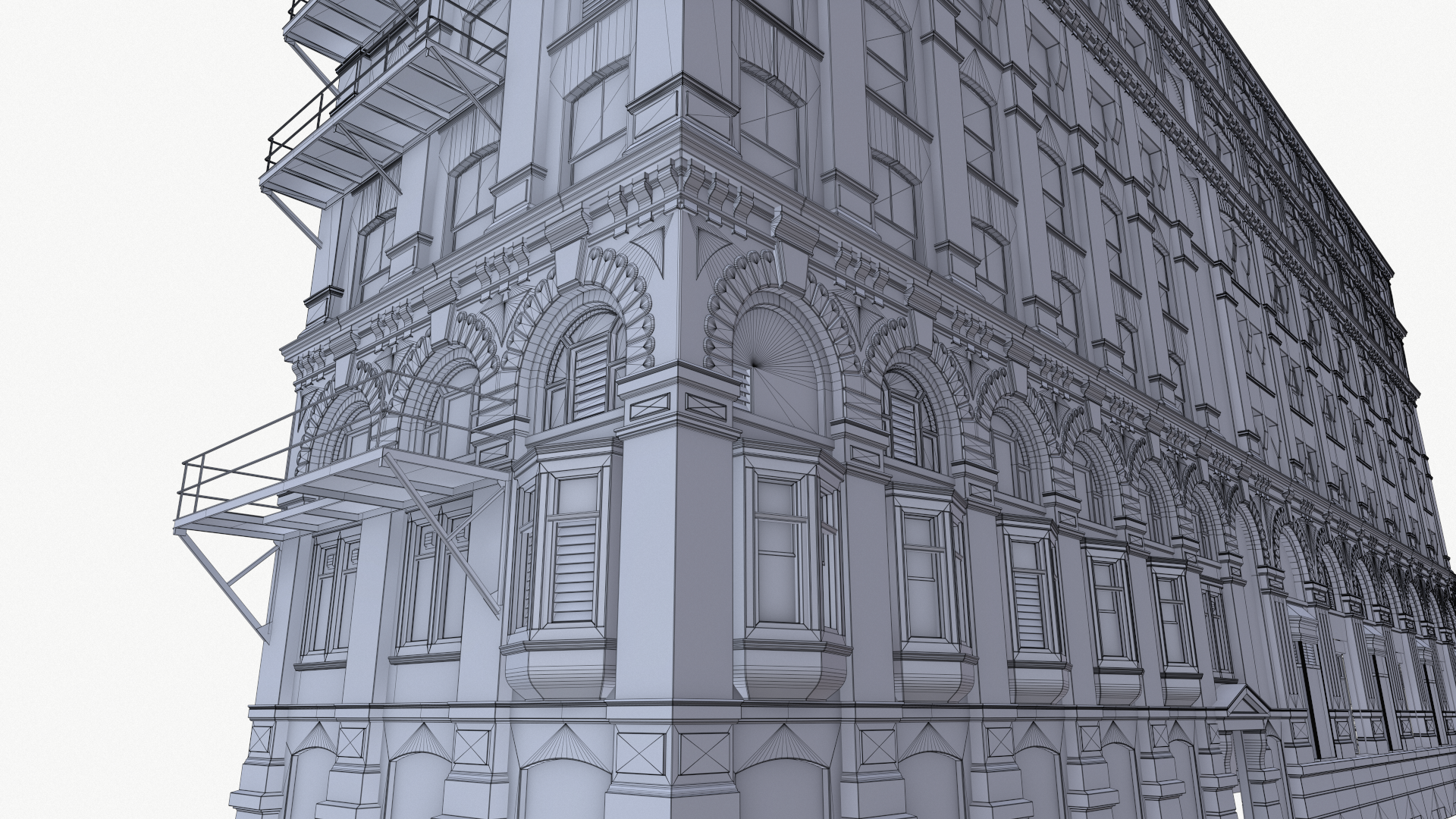 Detailed low-poly building modeling.