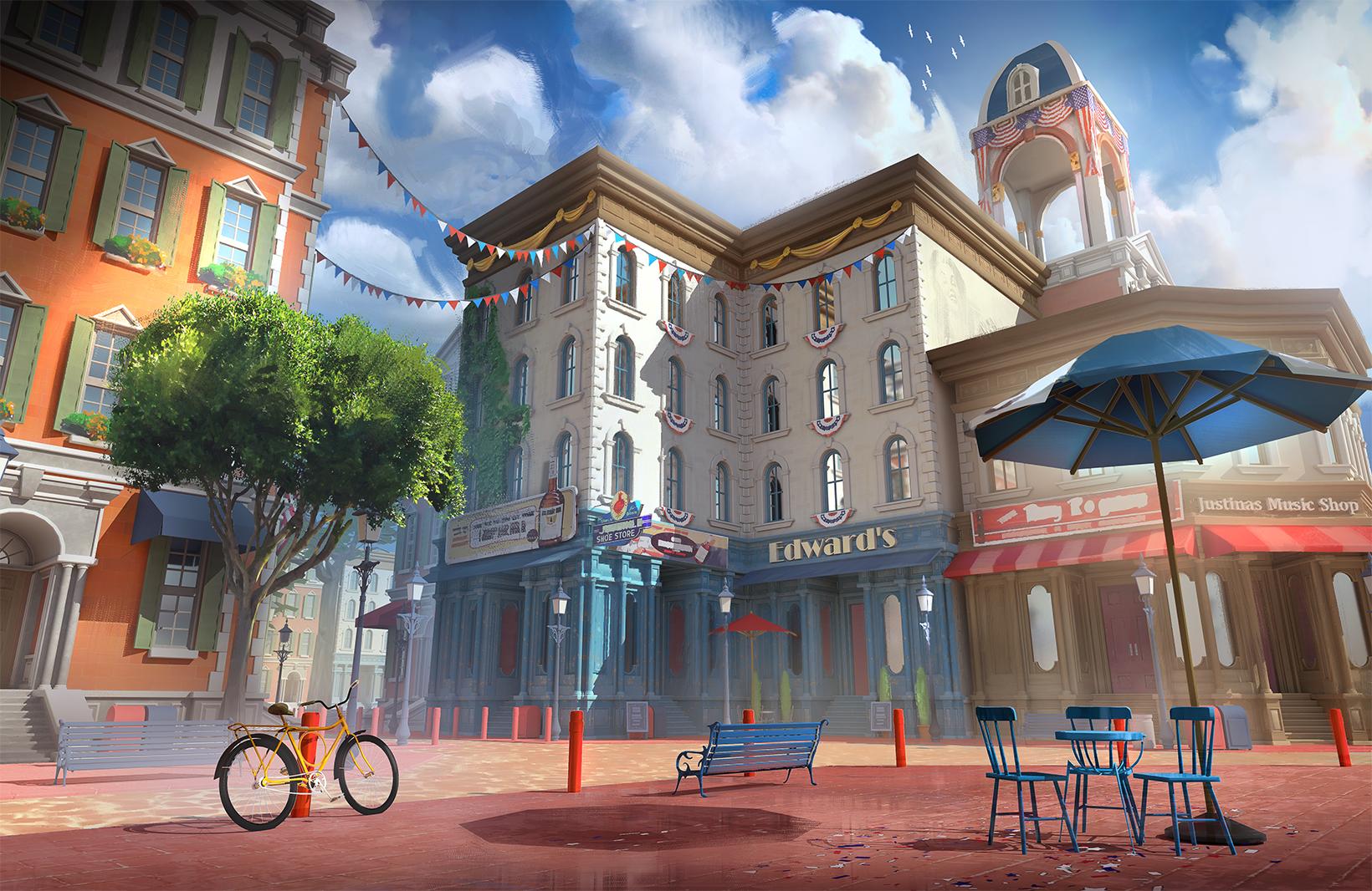 Colonial town 3D assets