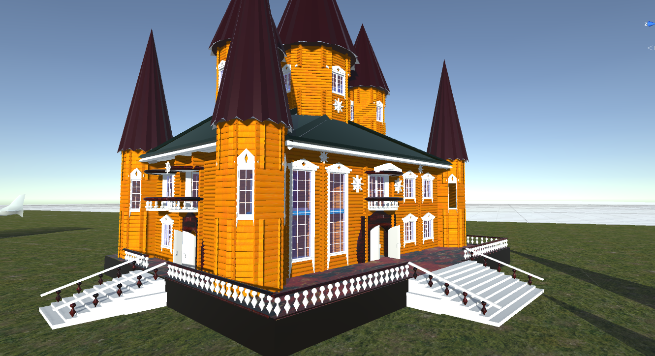 Russian wooden house in Siberian village -1: Terem - 3D Model - for  games