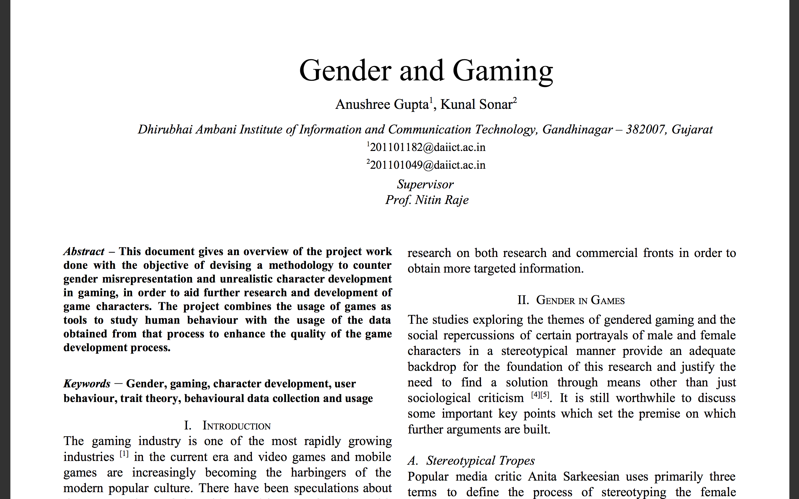 Gender and Gaming