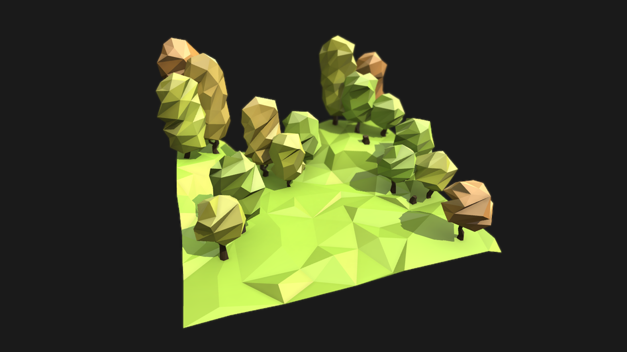 Low poly styled trees