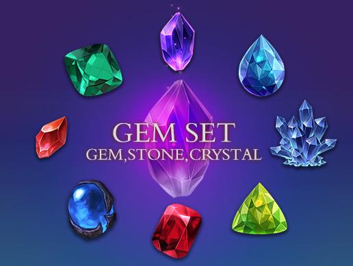 Gem set_gem,stone,crystal
