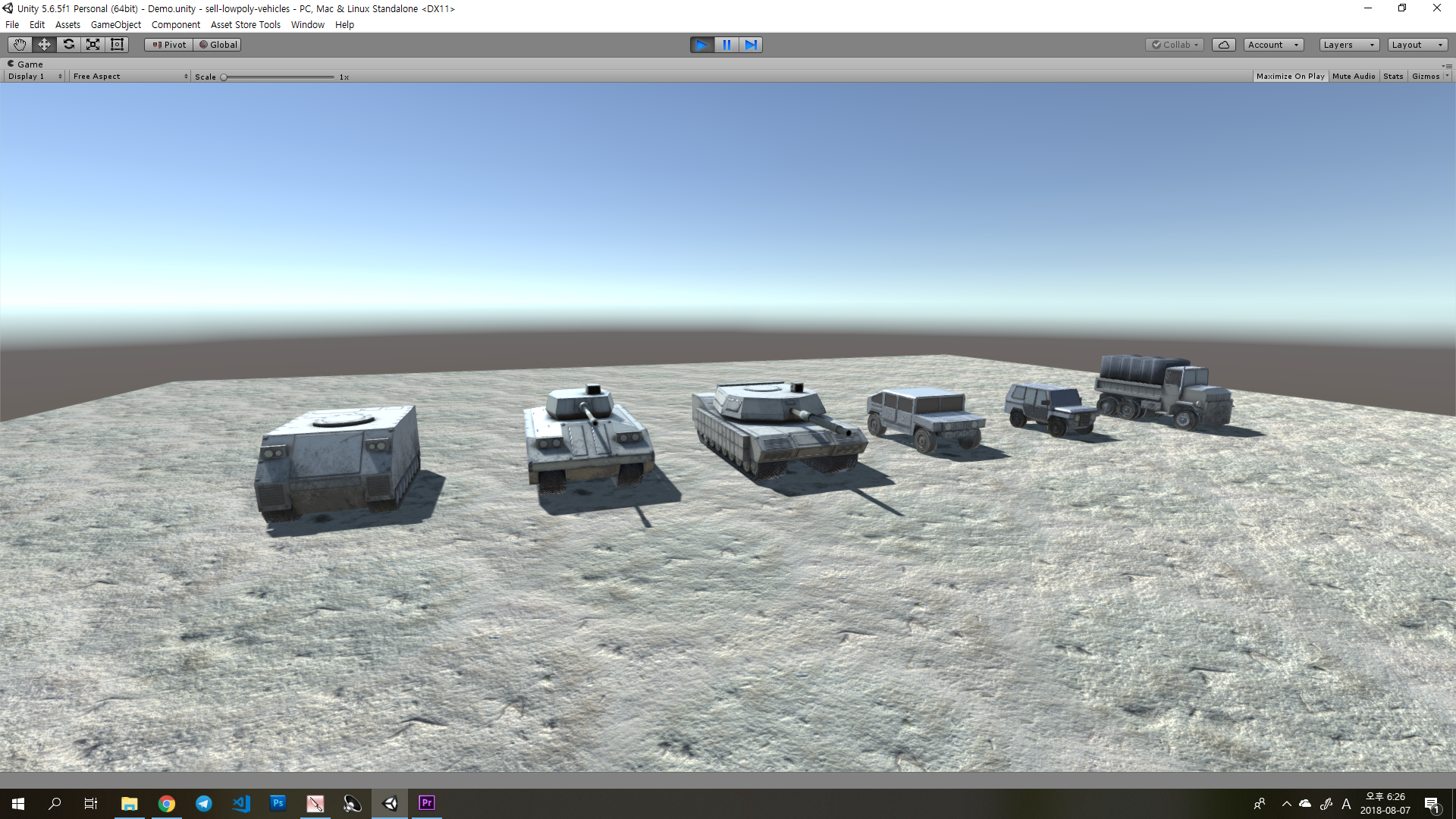 Repainted Low Poly Military Land Vehicles