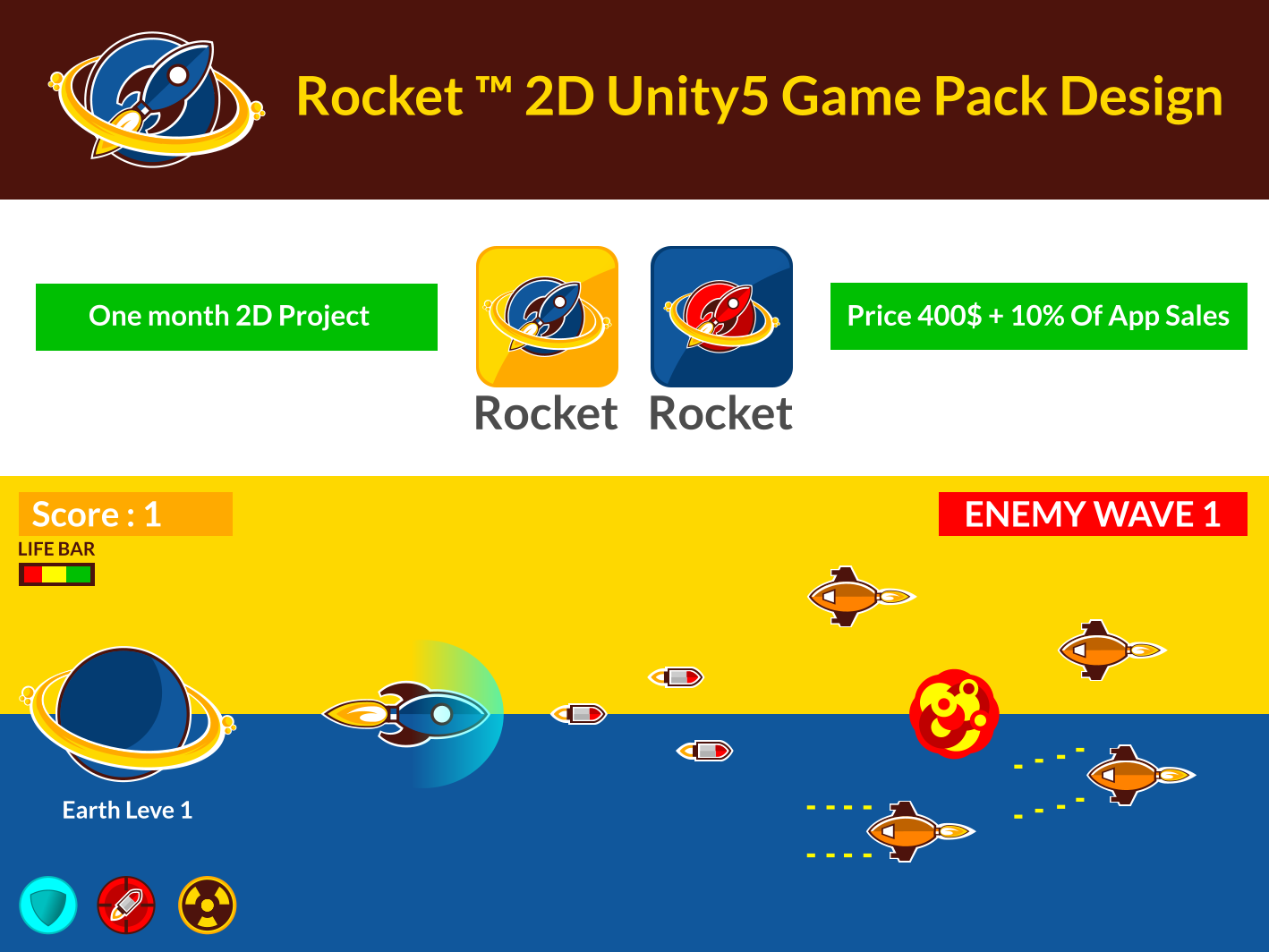 Rocket ™ 2D Unity5 Game Pack Design ( iOS & Android Game )
