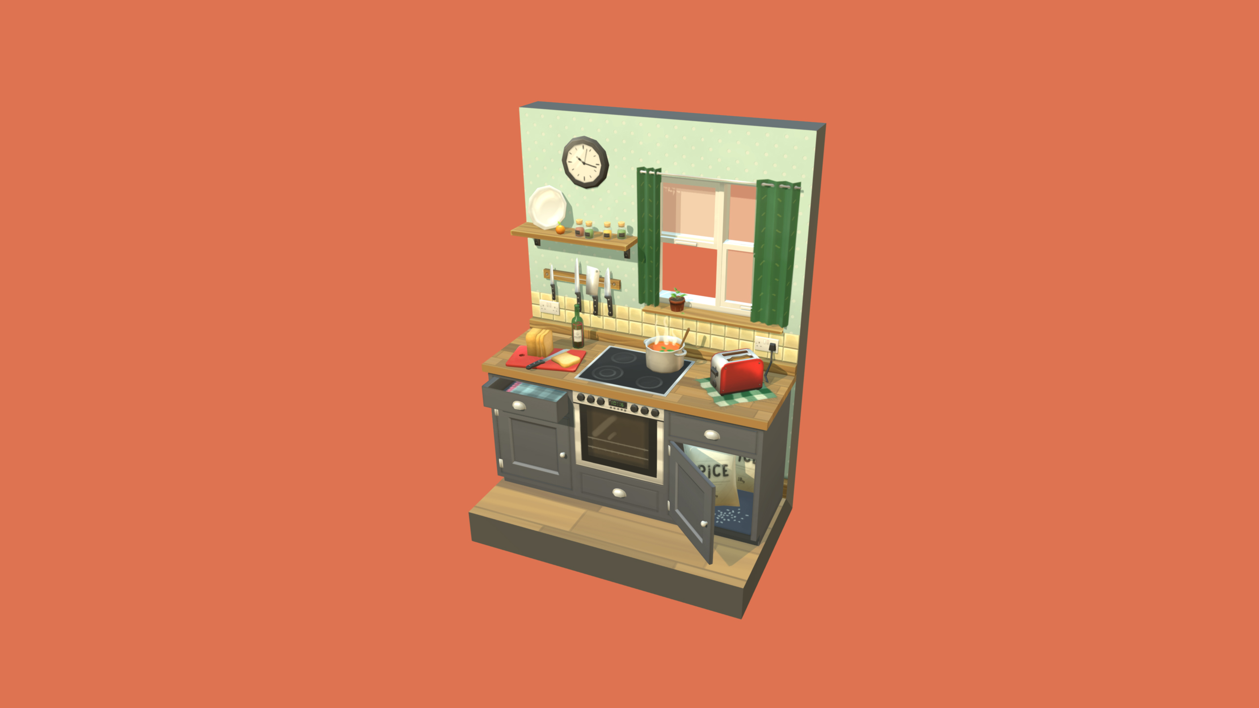 Kitchen Scene Diorama - Hand Painted