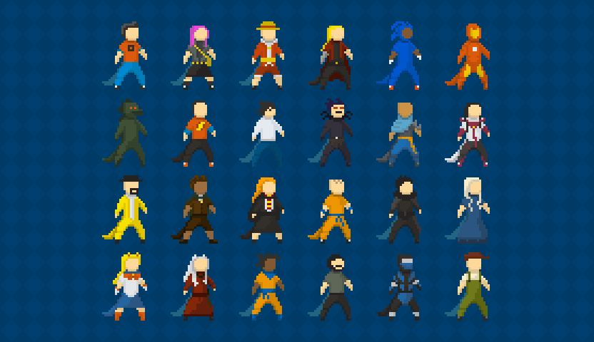 Pixel art cosplay characters for mobile game