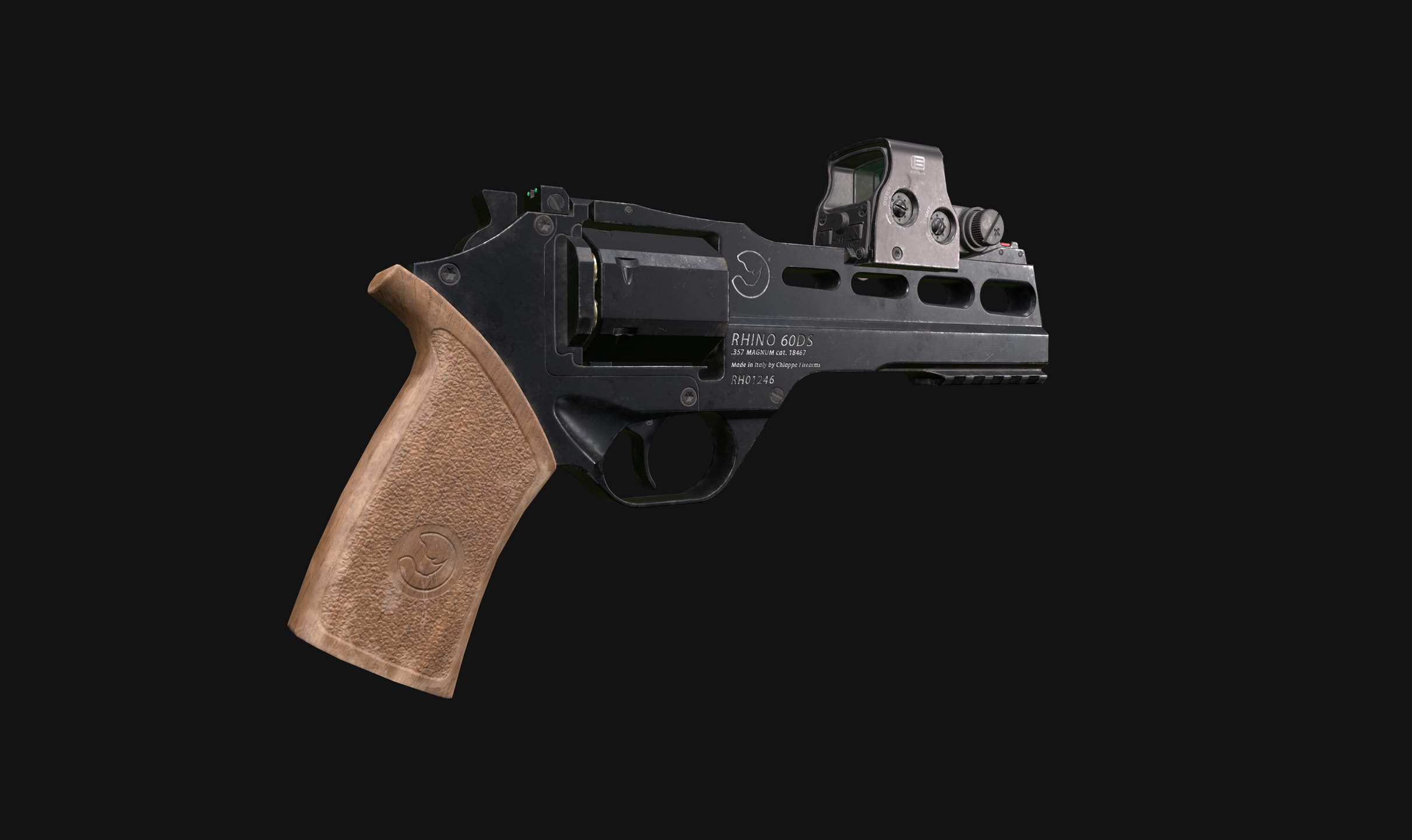 Low poly Chiappa Rhino with Eotech sight