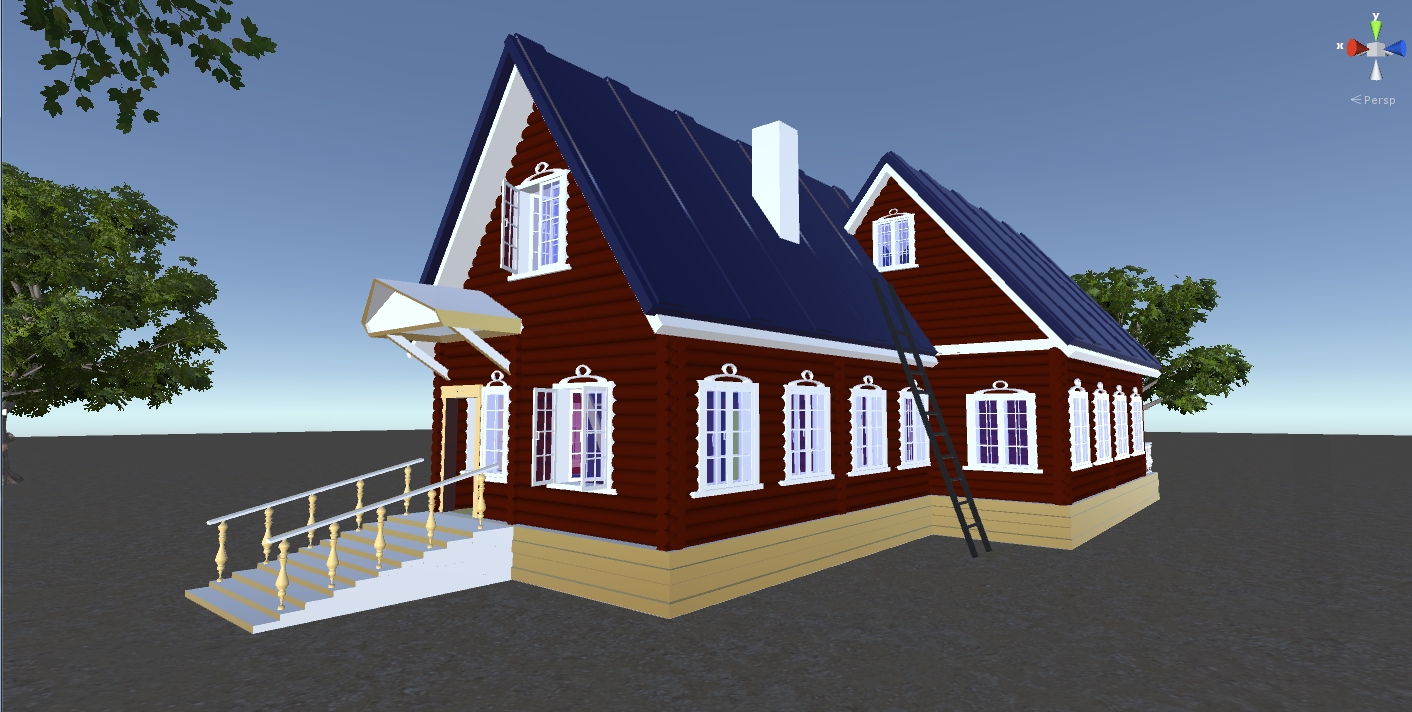 Russian Wooden House In Siberian Village - 2 - for games 3D Model