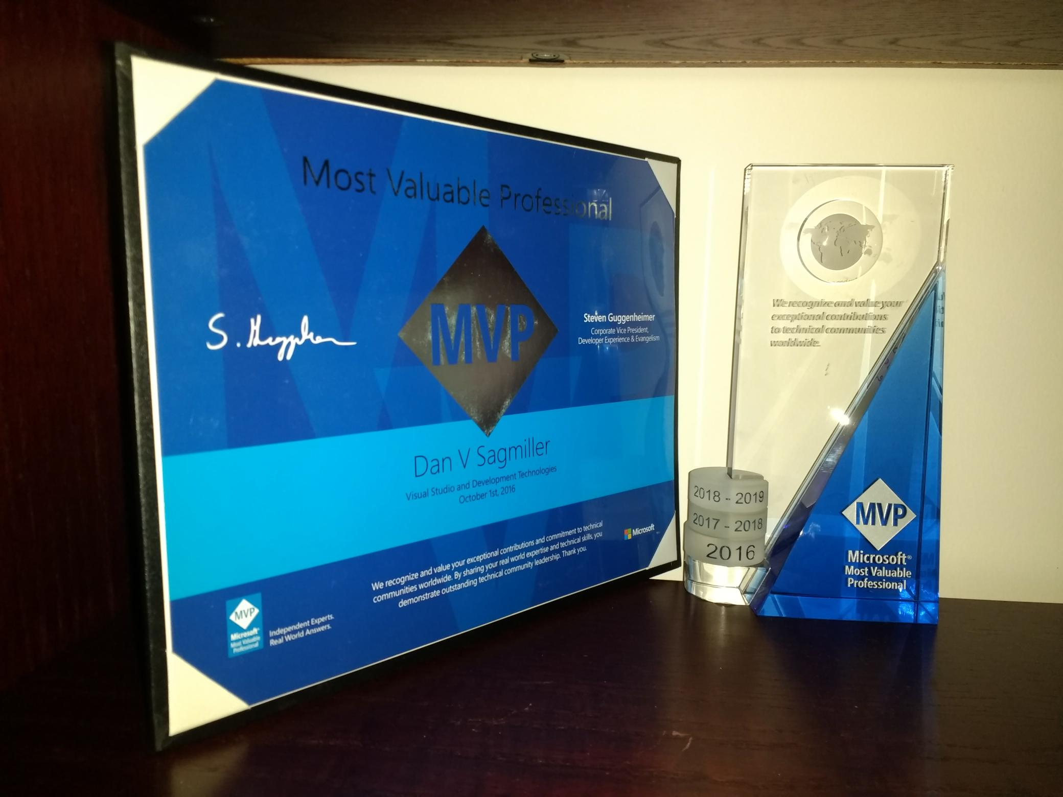 Microsoft MVP Award for Unity 2016-2019