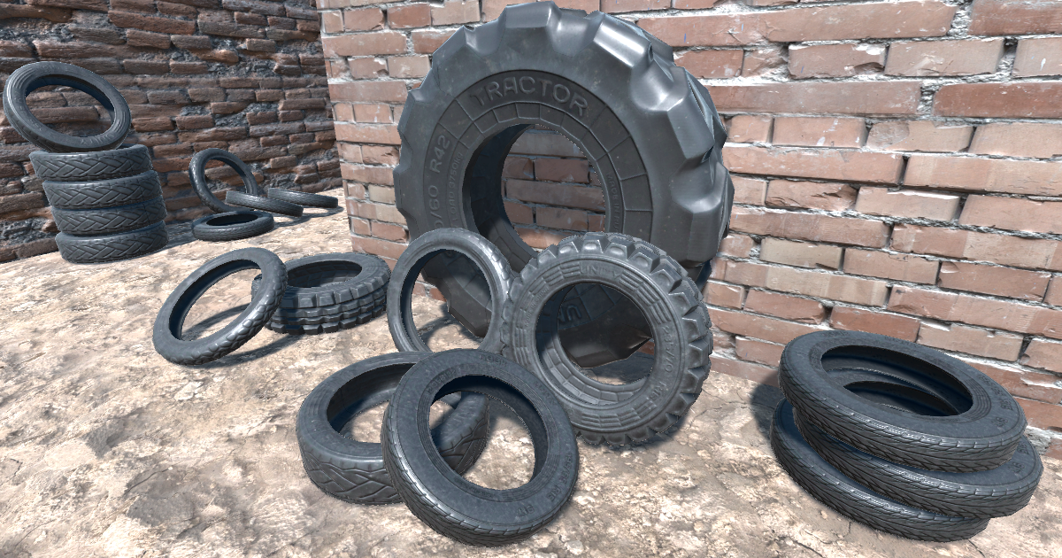 3D Pack of tires for Unity