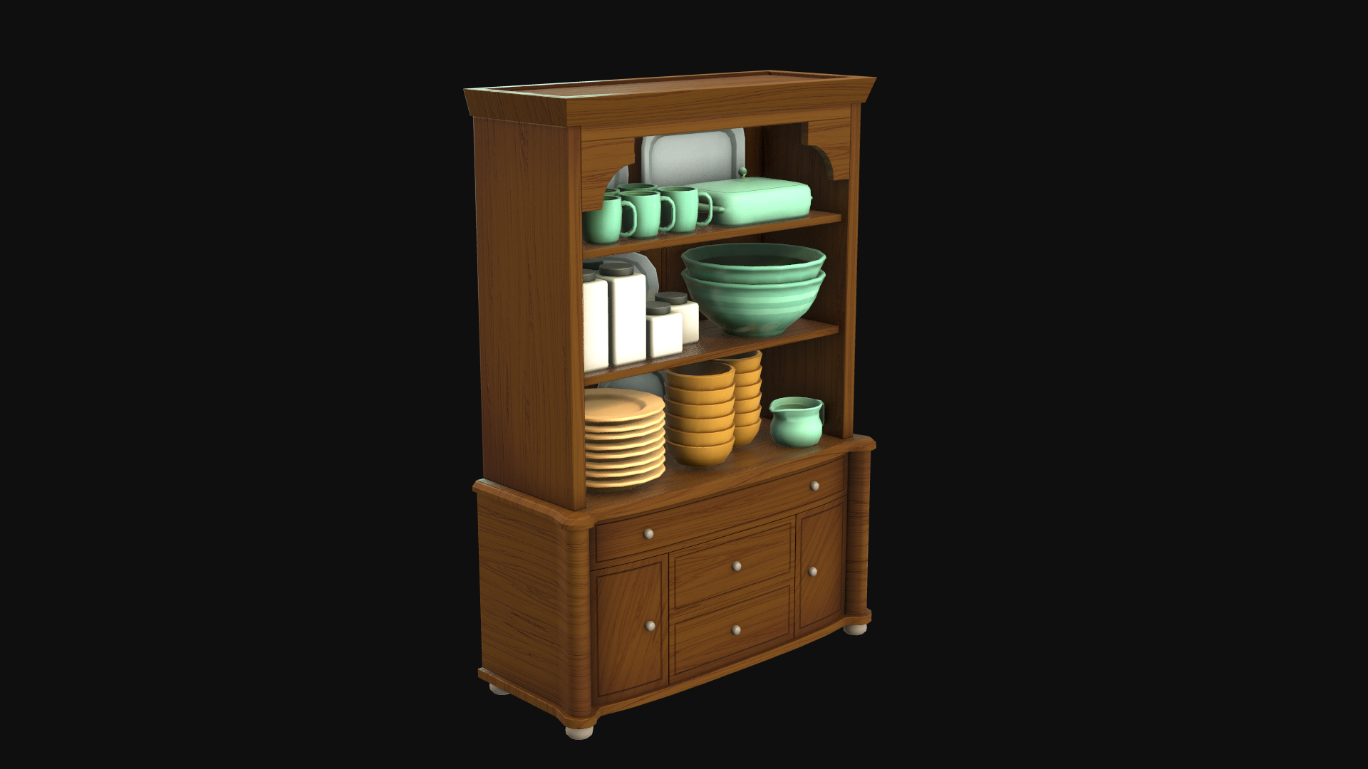 Cupboard & Tableware - Final Fantasy IX scene fan art asset