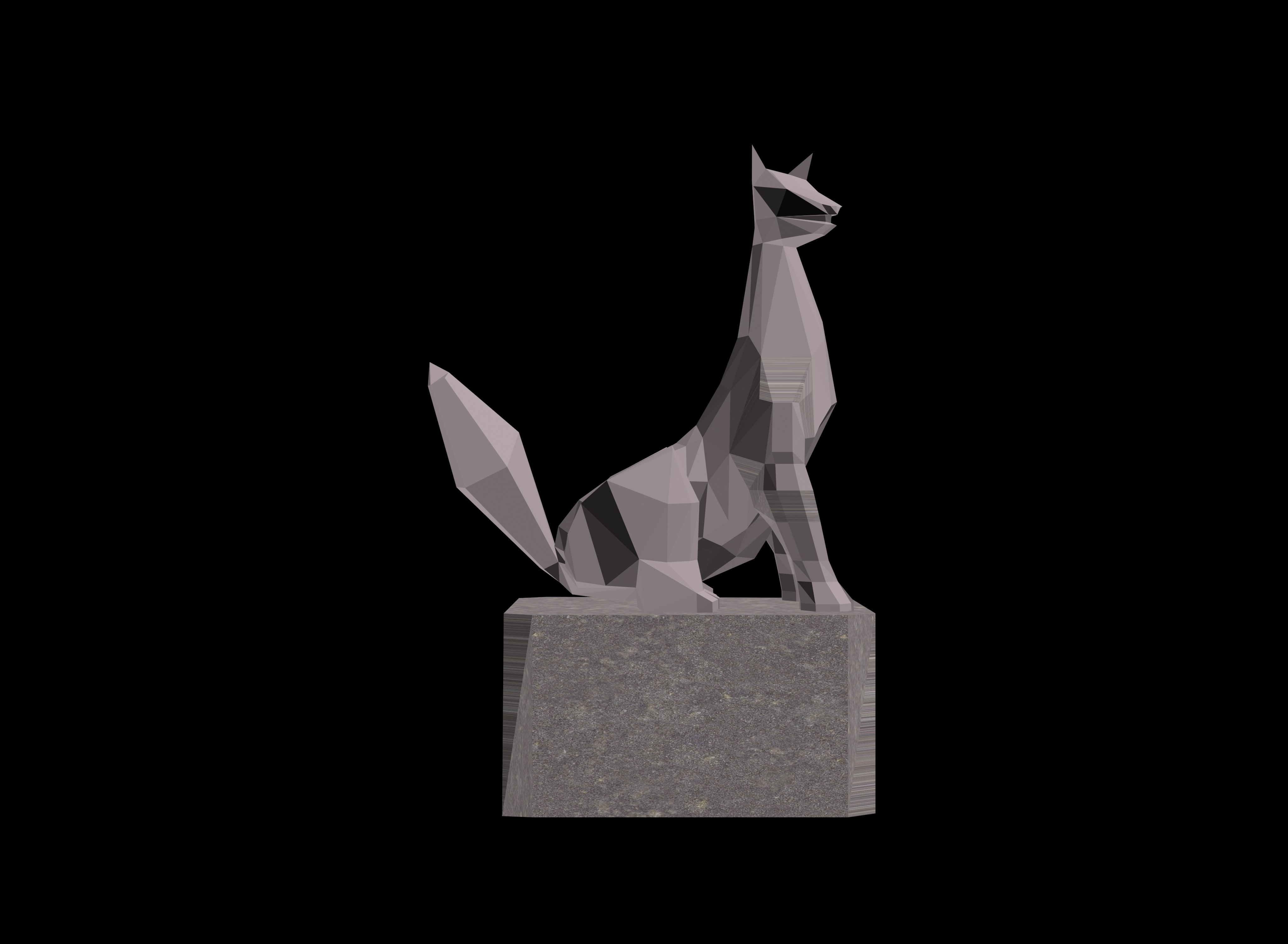 Lowpoly fox statue