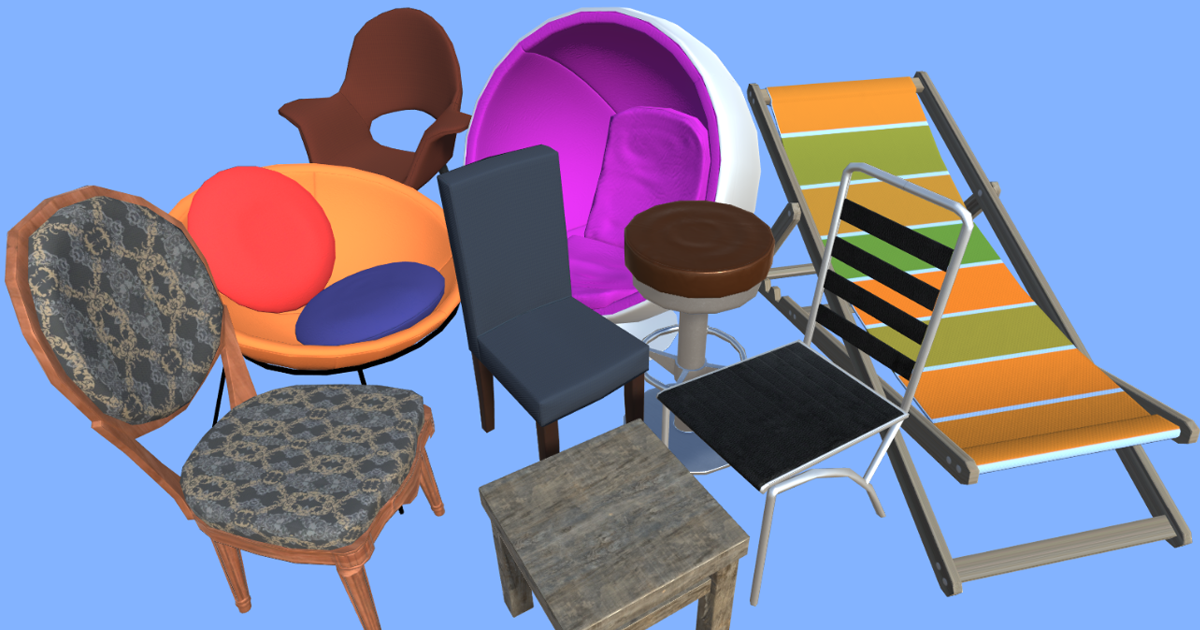 3D Collection of chairs for Unity