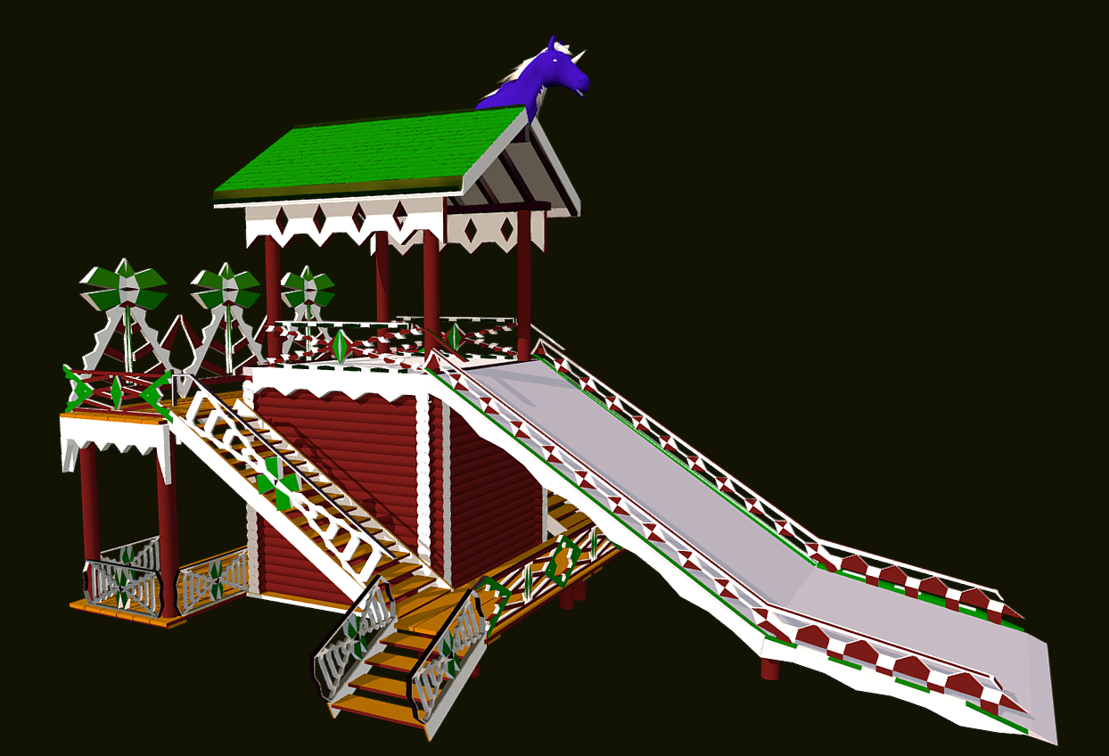 Russian Wooden Winter Slide Attraction 3D Model for video games. Made in Blender 2.79. Tested in Unity 5.