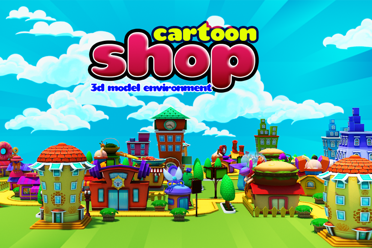 3D Cartoon Shop Town