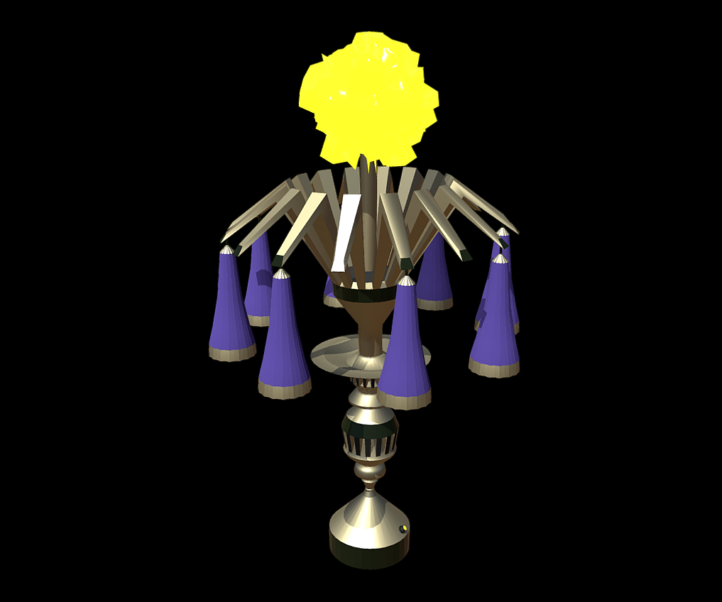 Magic Lamp of Ancient Hyperborea - Fire Flower - 3D Model for video games