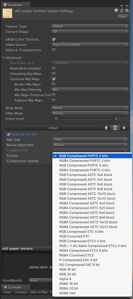 Unityで設定できるテクスチャの圧縮フォーマットについて