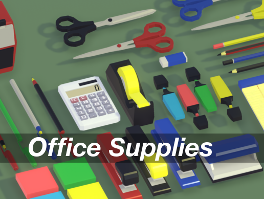 Office Supplies Low Poly (free asset pack)