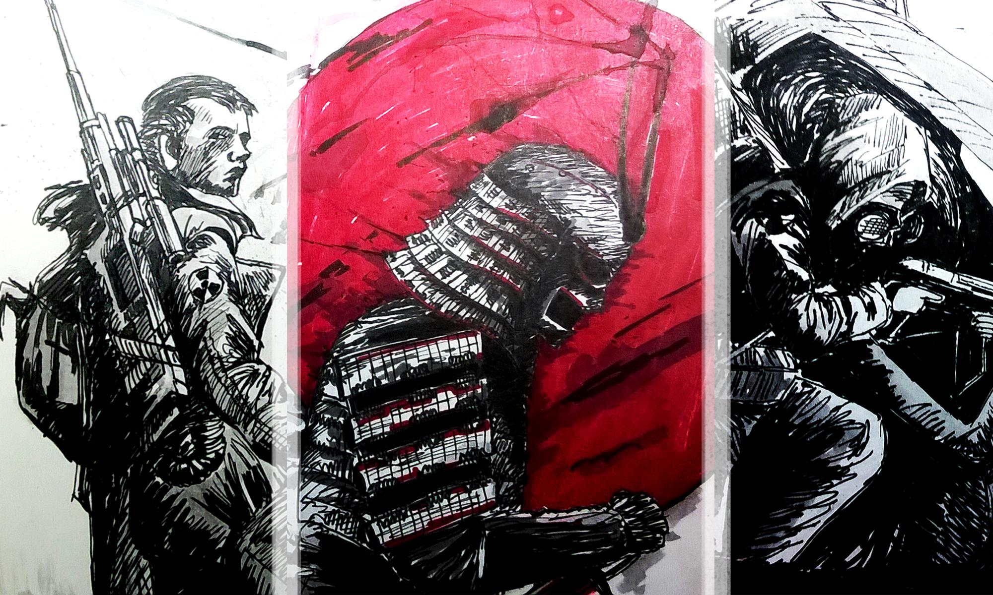 Pen drawing 1, 2, 3